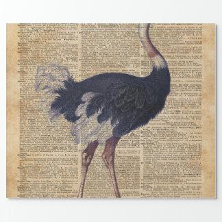 だちょうの大きい鳥の動物のヴィンテージ辞書の芸術 ラッピングペーパー