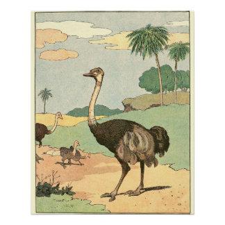 だちょうの子供の物語の本動物 ポスター