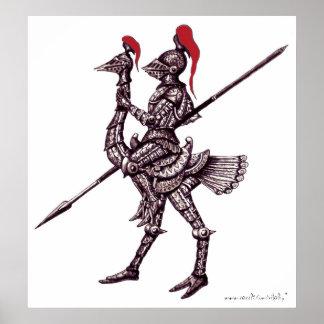 だちょうの抽象芸術のグラフィックアートポスターのクールな騎士 ポスター