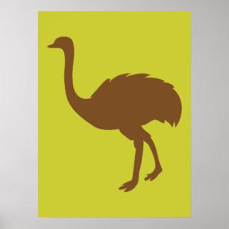 だちょうの鳥の漫画の芸術動物 ポスター