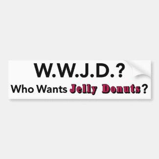 だれがゼリーのドーナツのバンパーステッカーのwwjdがほしいと思いますか。 バンパーステッカー
