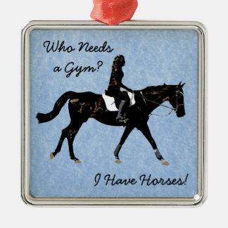 だれが体育館を必要としますか。 おもしろいの馬 シルバーカラー正方形オーナメント