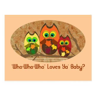 だれがYaのベビーを愛しますか。 杏子のフクロウのトリオ- ポストカード