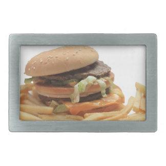 ちょうどクラシックなハンバーガー 長方形ベルトバックル