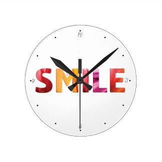 ちょうどスマイルの幸せな引用文04 ラウンド壁時計