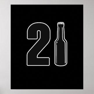 ちょうど回された21ビール瓶の第21誕生日 ポスター