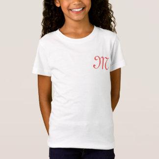 ちょうど女の子の白いワイシャツの手紙Mの前部ポケットのために Tシャツ