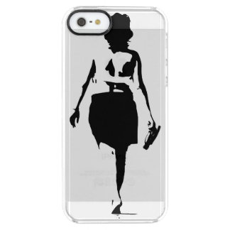 ちょうど歩く-ビーチの女の子--を保って下さい クリア iPhone SE/5/5sケース