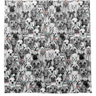 ちょうど犬の珊瑚のミント シャワーカーテン