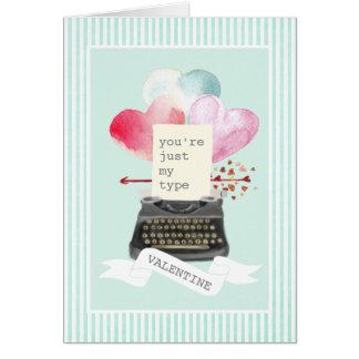 ちょうど私のタイプミントのストライプなバレンタインのタイプライター カード