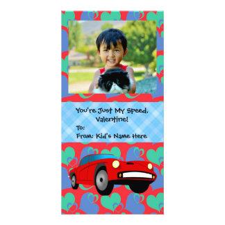 ちょうど私の速度、レースカーの男の子の子供のバレンタイン カード