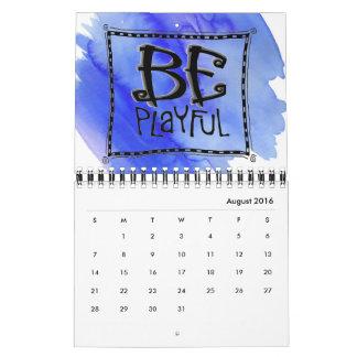 """""""ちょうど""""ワイヤー行きの芸術のカレンダーの2ページがあって下さい カレンダー"""