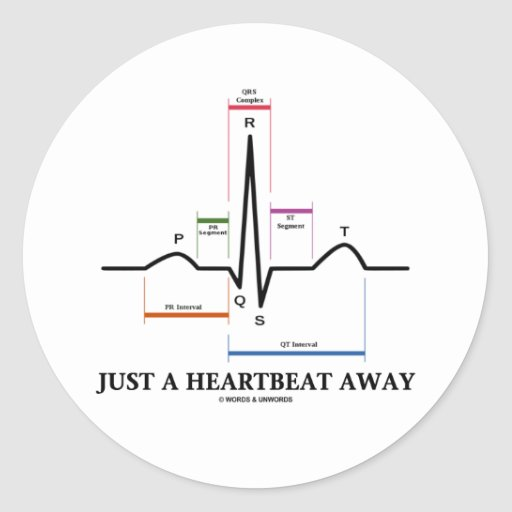 ちょうど|心拍|遠くに|(EKG/ECG) 丸形シール・ステッカー