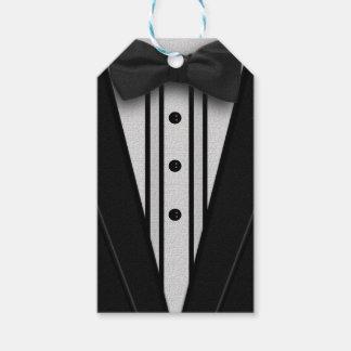 ちょうネクタイが付いている黒いタキシード ギフトタグ