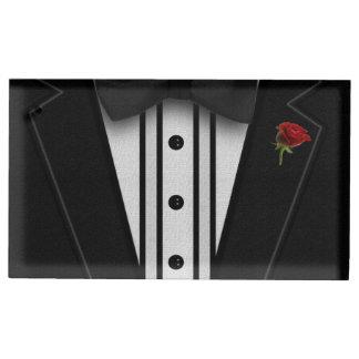 ちょうネクタイが付いている黒いタキシード テーブルカードホルダー