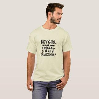 ちょっと女の子、家庭分娩のパパ、OBのおもしろいな助産婦のワイシャツ Tシャツ