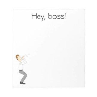 ちょっと、ボス! ビジネスマンが付いているメモ帳 ノートパッド