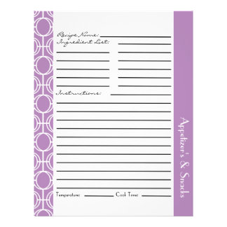 つながれた永遠はレシピの挿入物-紫色--を鳴らします チラシ