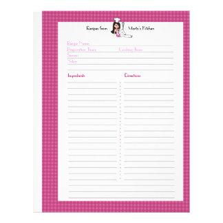 つなぎのユーザーのための十分に図解入りの、写真付きのなレシピのページ レターヘッド
