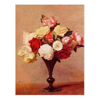 つぼのアンリーFantin-Latour-のバラ ポストカード