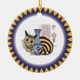 つぼのアートワークの後ろのルイWain猫 セラミックオーナメント