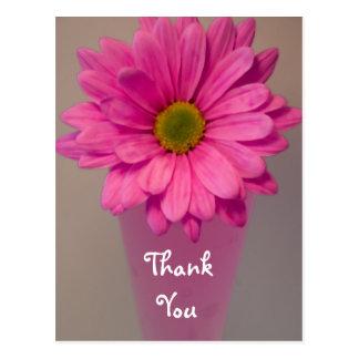 つぼのピンクの花はノートの郵便はがき感謝していしています
