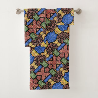 つぼの明るい色のモダンの抽象的な花 バスタオルセット