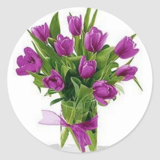 つぼの紫色のチューリップ ラウンドシール