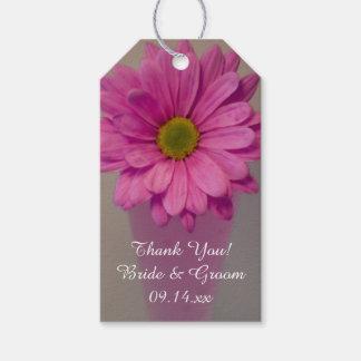 つぼの結婚式のピンクのデイジーは感謝していしています ギフトタグ