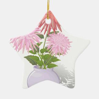 つぼの花のダリア 陶器製星型オーナメント