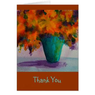 つぼの花を持つNotecardありがとう グリーティングカード
