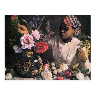 つぼの花を植えているアフリカの女性 ポストカード