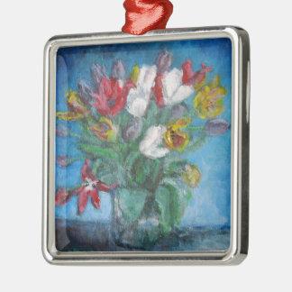 つぼの花柄のチューリップの花 メタルオーナメント