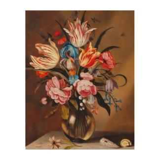 つぼ|の木のキャンバスのヴィンテージの花 ウッドウォールアート