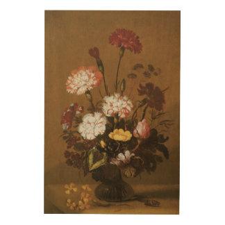 つぼ、ヴィンテージのバロックの花の静物画の花 ウッドウォールアート