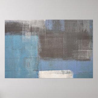 「つまずいた」灰色および青の抽象美術ポスタープリント ポスター