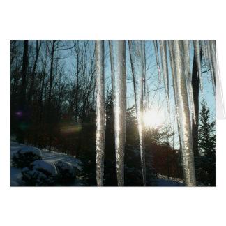 つららの冬の自然の写真撮影による日の出 カード