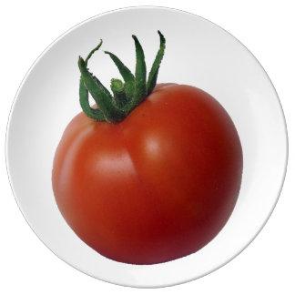 つる植物によって熟させるトマト 磁器プレート