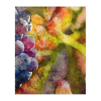 つる植物のカラフルなブドウ酒用ブドウ アクリルウォールアート