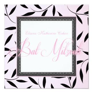つる植物のバルミツワーのピンクの招待状 カード