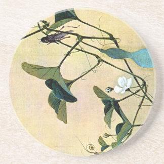 つる植物の日本人のWoodblockの芸術Ukiyo-Eのコオロギ コースター