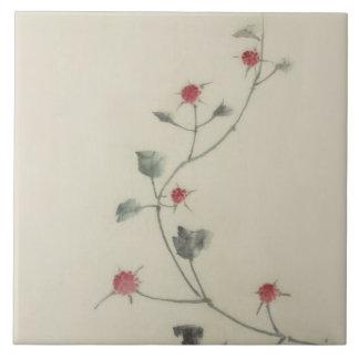 つる植物のHokusaiのファインアートの北斎の赤い花 タイル