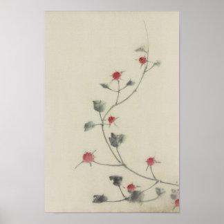 つる植物のHokusaiのファインアートの北斎の赤い花 ポスター
