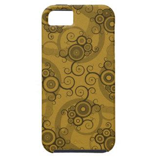 つる植物のReticulation -ブラウン及び緑の渦巻形のなパターン iPhone SE/5/5s ケース