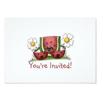 てんとう虫およびスイカの誕生日のパーティの招待状 カード