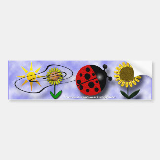 てんとう虫および花 バンパーステッカー