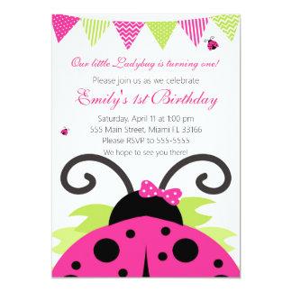 てんとう虫のショッキングピンクの子供の誕生日のパーティの招待状 12.7 X 17.8 インビテーションカード