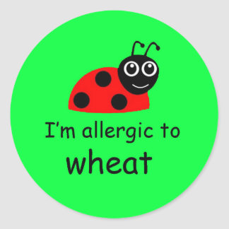 てんとう虫のムギのアレルギー警報ステッカーの緑 ラウンドシール