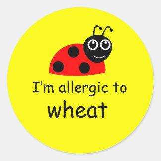 てんとう虫のムギのアレルギー警報ステッカー ラウンドシール