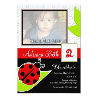 てんとう虫の写真の招待状 カード